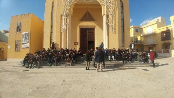 La protesta a Lampedusa